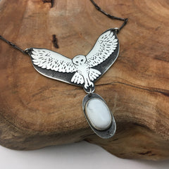 Flying Owl Pendant with Howlite