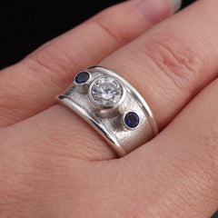 Eco Friendly Statement Ring with CZ & Sapphires