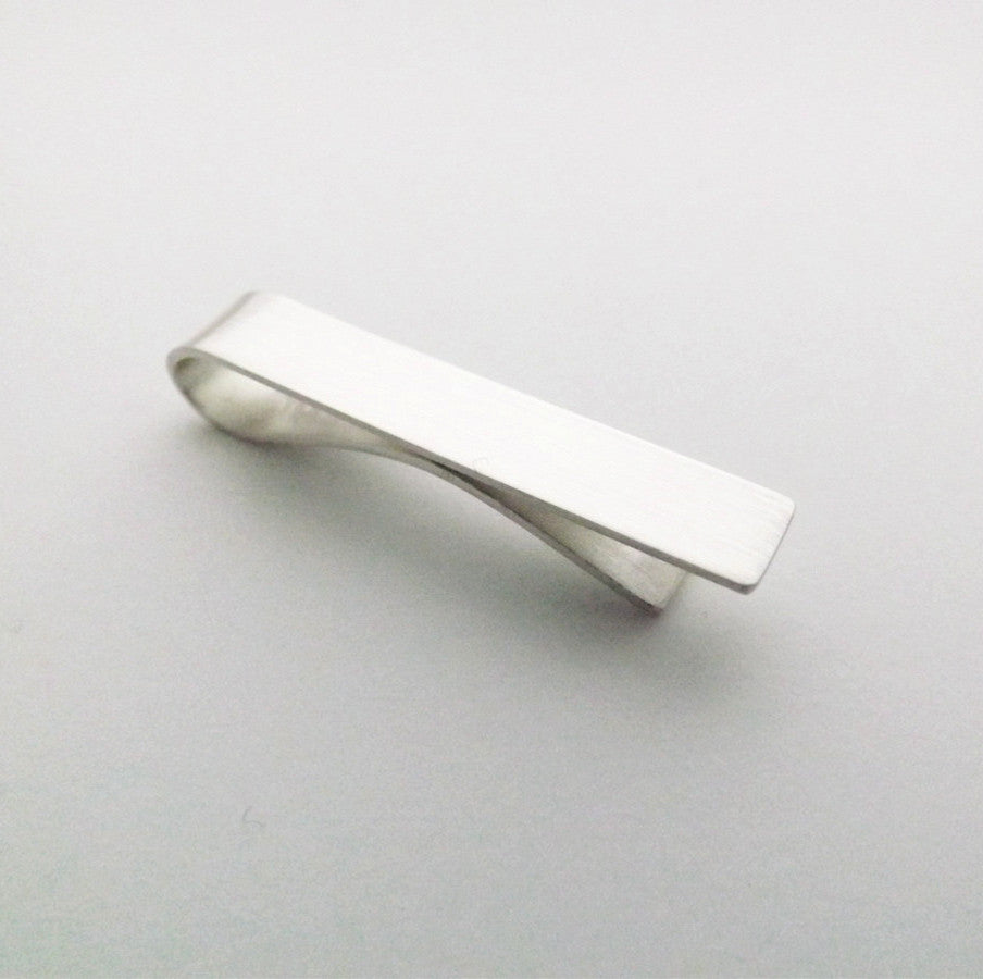 Simple Solid Silver Tie Bar