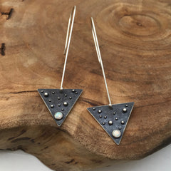 Opal Earrings Silver Triangles