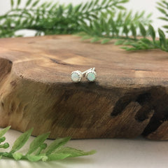 Tiny Silver & Opal Stud Earrings