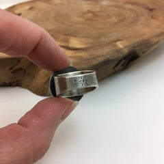 Hand stamped ring shank details