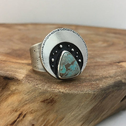 Crescent Moon & Turquoise Ring - Size 6