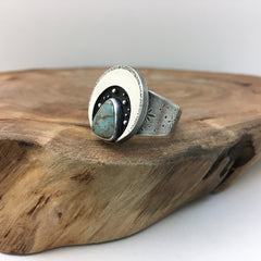 Silver Crescent Moon & Turquoise Ring