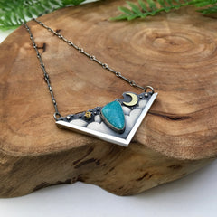 OOAK Turquoise Moon Necklace