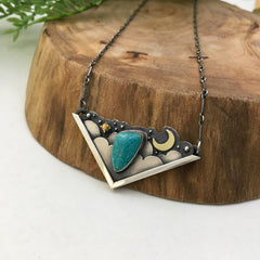 Moon & Cloud Night Sky Necklace