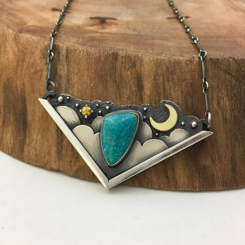 Turquoise & Gold in the Night Sky Necklace