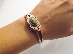 Copper Cuff with Unakite Cabochon