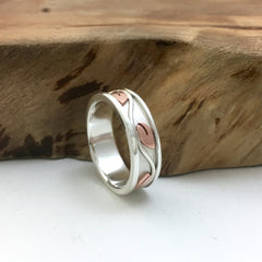 His & Hers Promise Rings - Vine Mixed Metals Silver & Copper