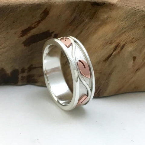 Silver & Copper Vine Promise Ring / Wedding Band