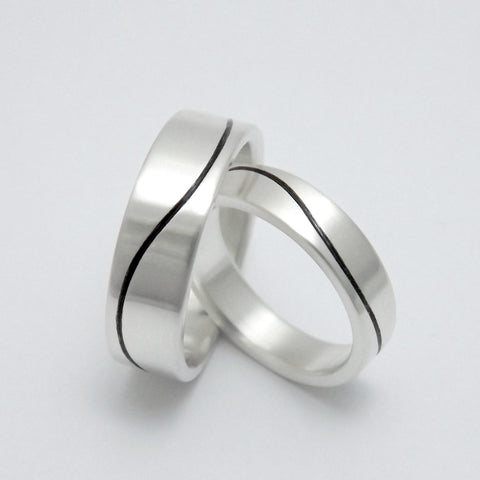 Matching Wedding Bands with Black Wave