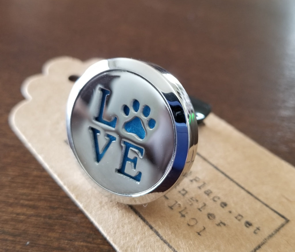 Love and Paw Print Essential Oil Car Diffuser Locket