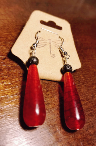 Red Crackle Onyx Aromatherapy Lava Earrings