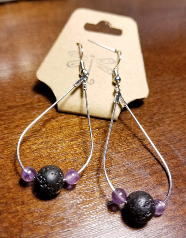 Oil Drop Amethyst Lava Aromatherapy Lava Earrings