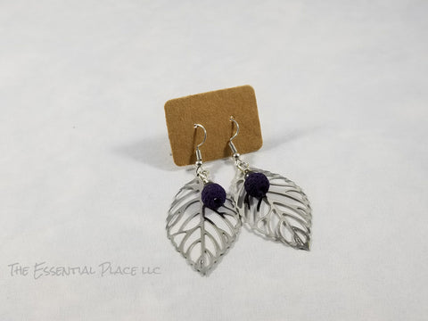 Leaf Aromatherapy Lava Earrings Silver
