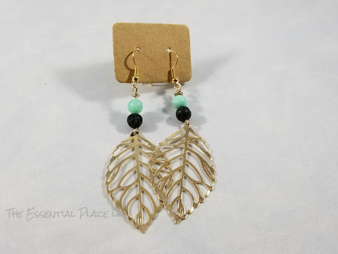 Leaf Aromatherapy Lava Earrings Gold