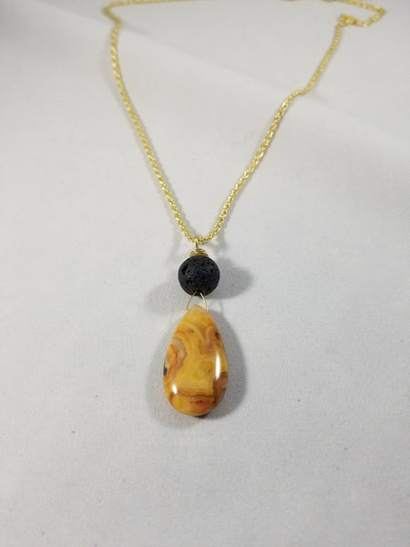 Crazy Lace Agate Essential Oil Lava Necklace - Gold