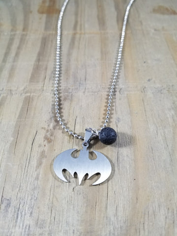 Batman Stainless Steel Essential Oil Lava Necklace
