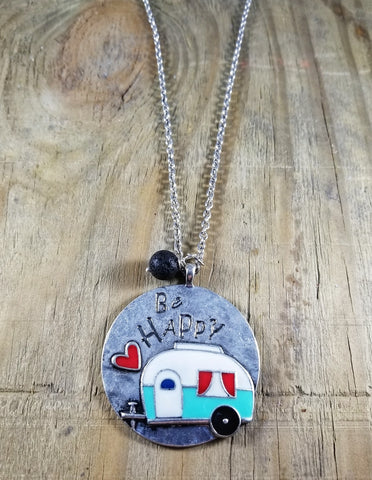 Be Happy Vintage Camper Essential Oil Necklace