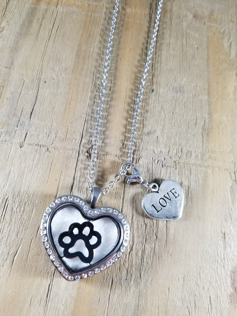 Paw Print Crystal Heart Essential Oil Locket Necklace with Love Charm