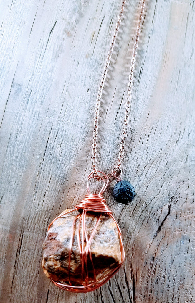 Tiger's Eye Essential Oil Lava Necklace