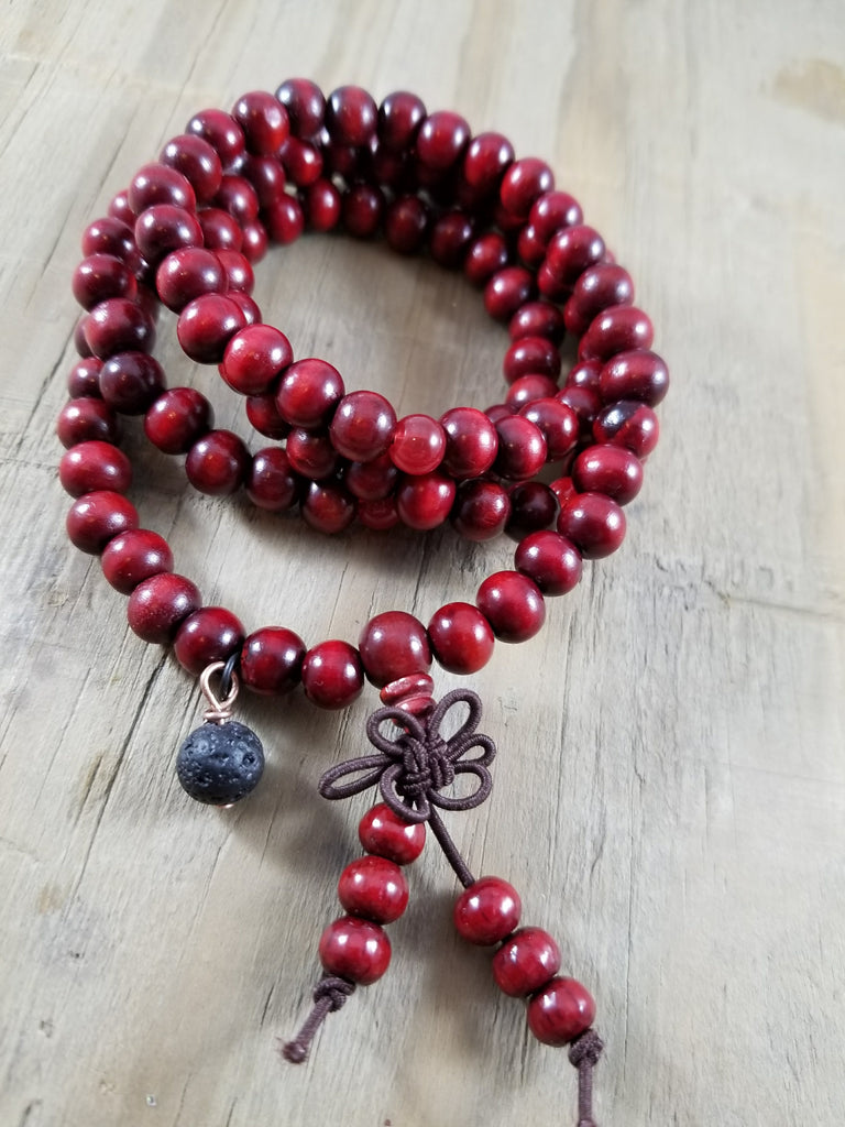 Wood Meditation Prayer Beads Lava Bracelet - Red
