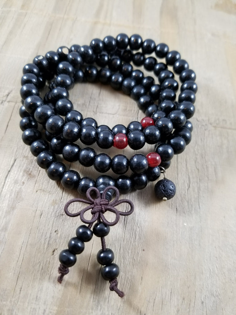 Wood Meditation Prayer Beads Lava Bracelet - Black w/ Red Beads
