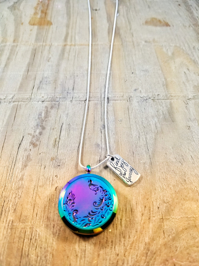 Peacock Essential Oil Locket Necklace with Journey Charm