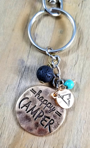 Happy Camper Essential Oil Lava Keychain
