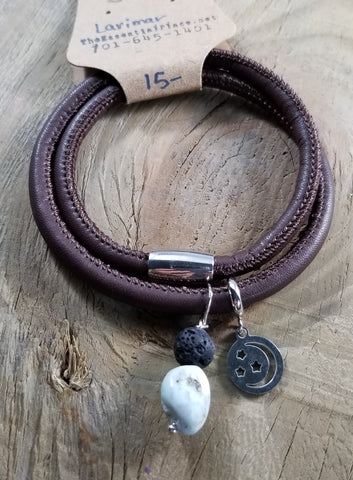 Magnetic Leather Wrap Moon Charm Lava Bracelet Larimar