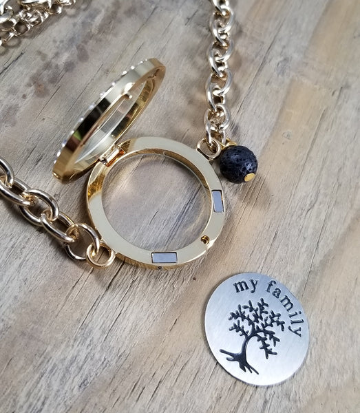 Family Essential Oil Locket Bracelet with Lava Bead