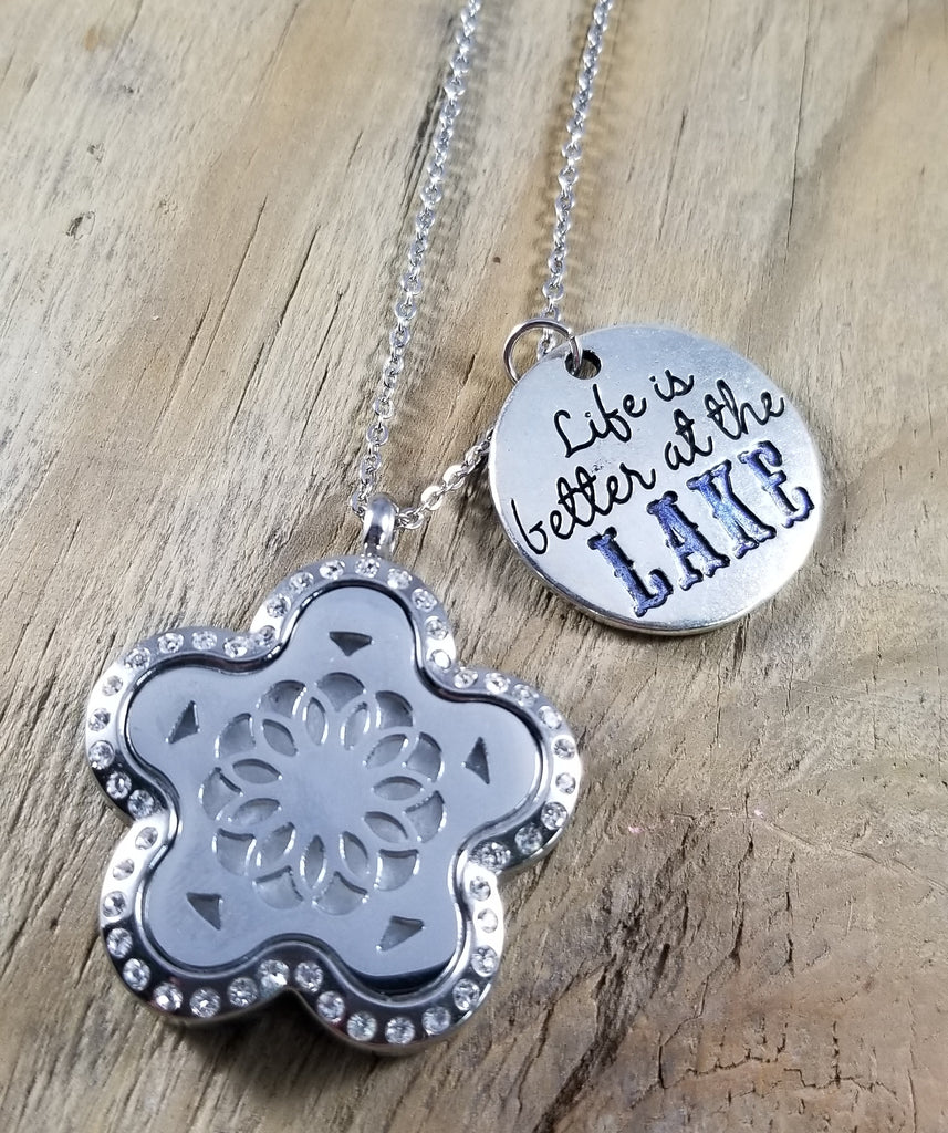 Flower Crystal Essential Oil Diffuser Necklace - Life is Better at the Lake