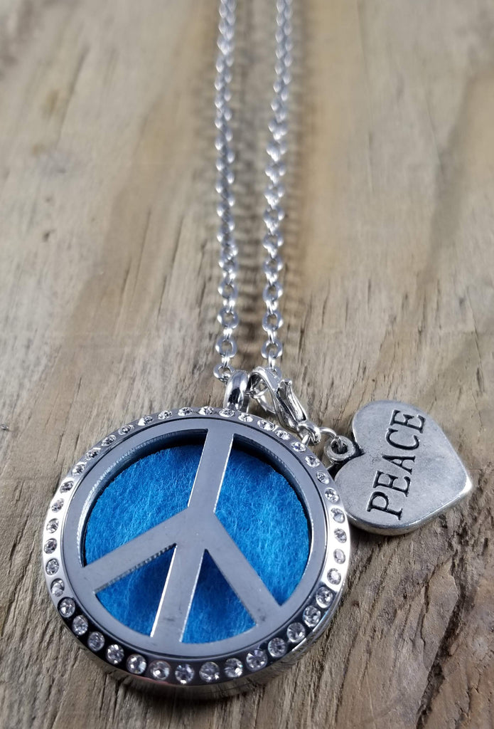 Peace Sign Crystal Essential Oil Diffuser Necklace