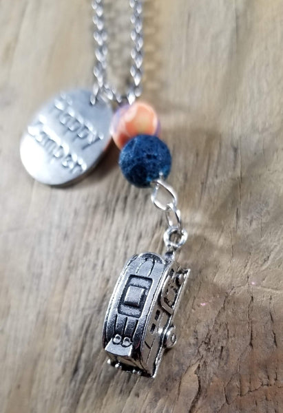 Happy Camper Vintage Essential Oil Lava Necklace
