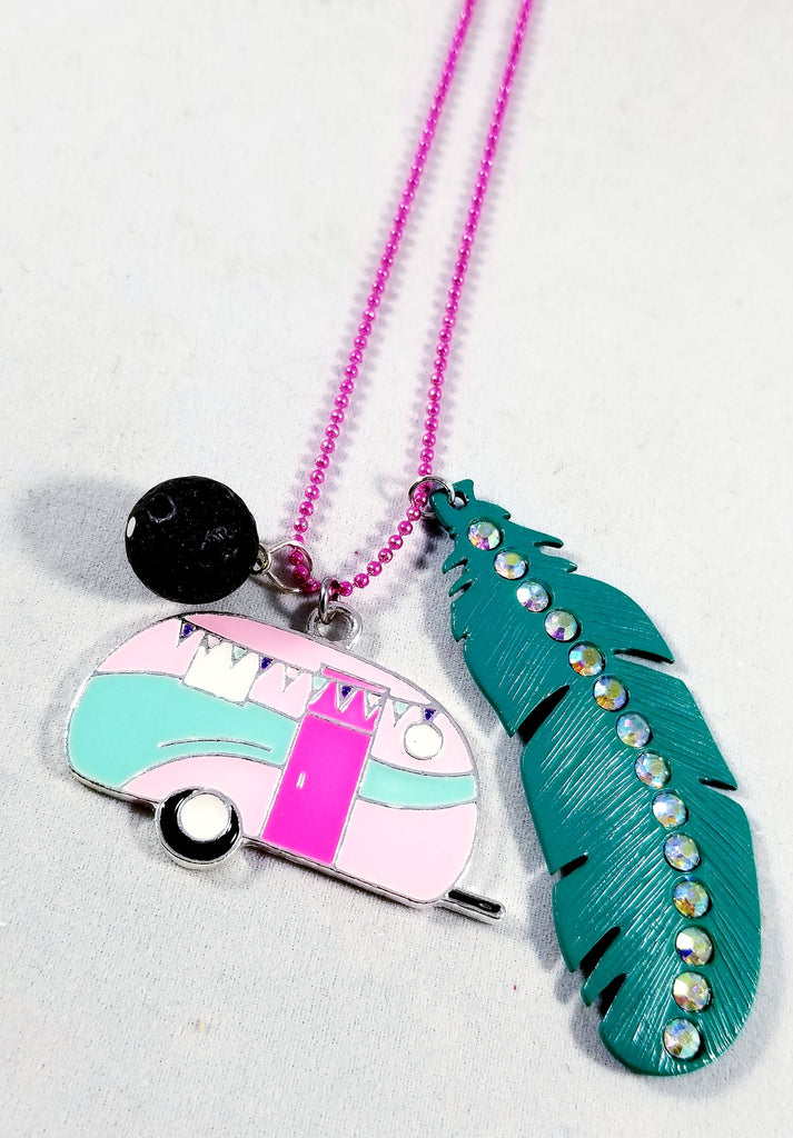 Vintage Camper Feather Essential Oil Necklace