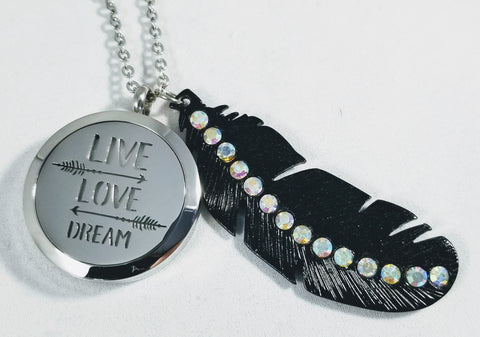 Live Love Dream Arrow and Feather Essential Oil Locket Necklace