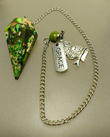 Green Sea Sediment Jasper & Pyrite Pendulum Owl & Grace Charm