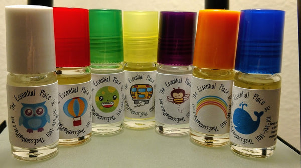 Kids or Childrens Essential Oil Roller Blend Set