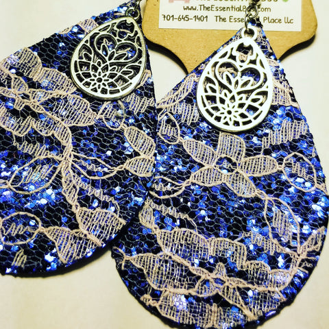 Blue Leather andLace Drop Earrings