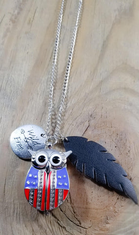 Americana Owl Pocket Watch Necklace