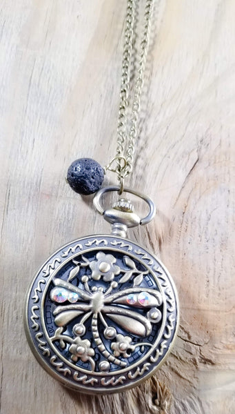Dragonfly Lava Pocket Watch Necklace