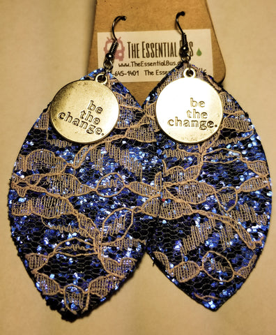 Blue Leather and Lace Be the Change Earrings