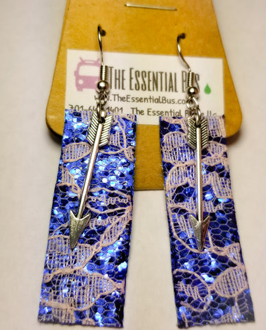 Blue Leather and Lace Arrow Earrings