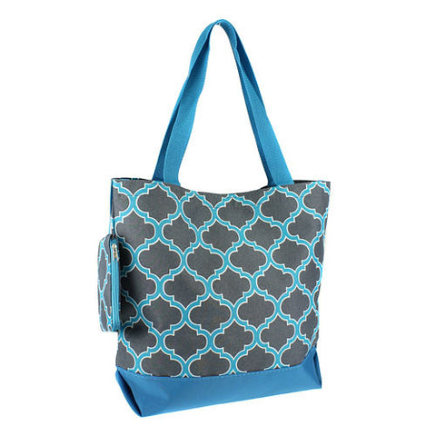Quatrefoil Gray Turquoise Shopping Tote