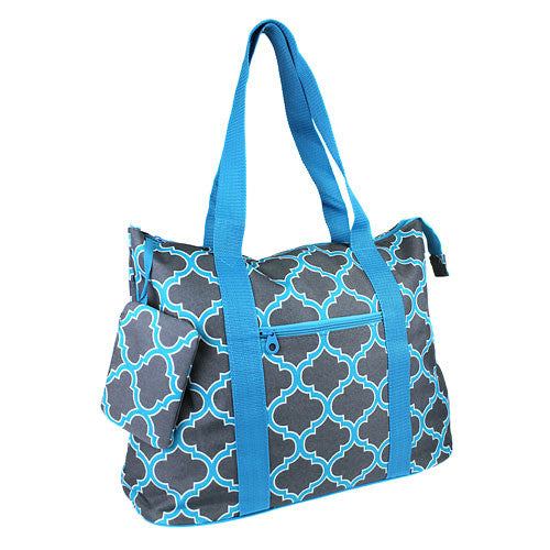 Quatrefoil Turquoise Big Shopping Tote