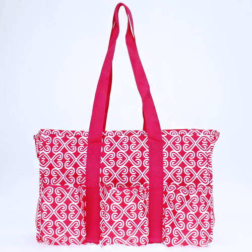 Twist Fuchsia and White Utility Bag