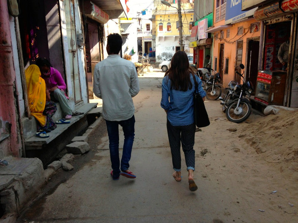 walking in town of bagru india