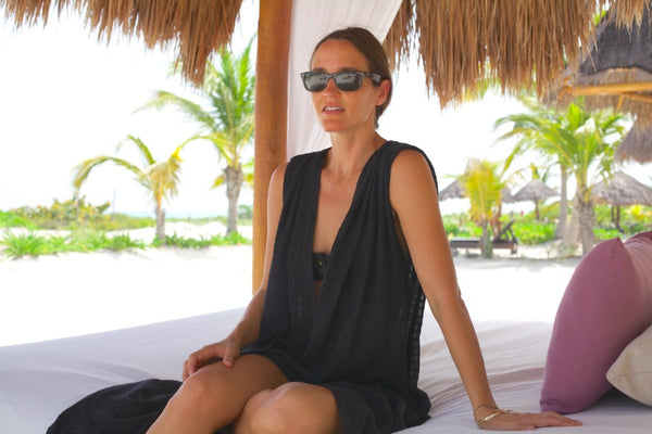 katie mcclure of mirth caftans in holbox island mexico