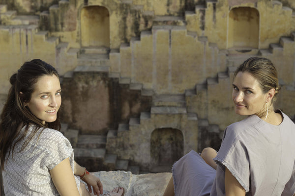 Erin Breen and Katie McClure, MIRTH Founders at stepwell in Jaipur India