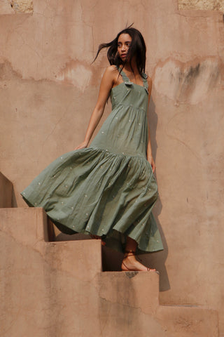 mirth rio green tiered scallped sundress
